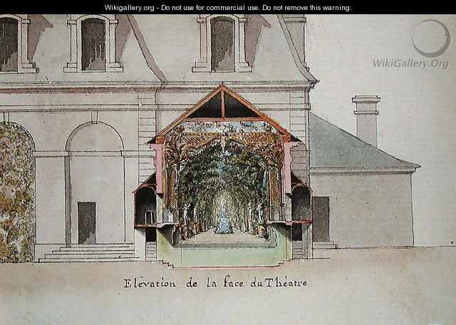 Elevation of the Theatre of the Salle de Spectacle, Chateaux de Chantilly, from the