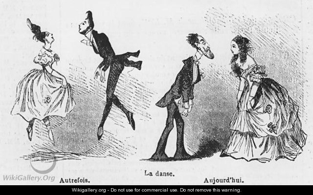 Caricature of dance, illustration from