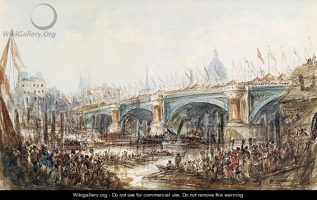 View of the Opening of the New Blackfriars Bridge by Queen Victoria (1819-1901) 6th November 1869 - George, the Younger Chambers