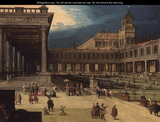 The Gardens and Courtyard of a Renaissance Palace - Louis de Caulery