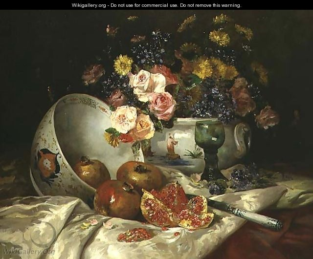 Still life of flowers in a Chinese vase with pomegranates - Eugene Henri Cauchois