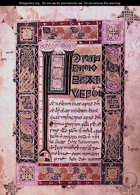 First page of the Gospel of St. John the Evangelist, text with initial and decorative border, from the MacDurnan Gospels, Armagh - Celtic