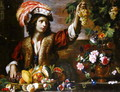 Young Man in a Feathered Hat with Still Life - Michelangelo Cerquozzi