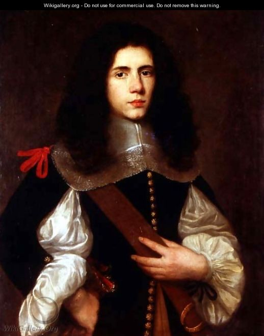 Portrait of a young gentleman in a black slashed doublet - Circle of Ceresa, Carlo (1609-1679)