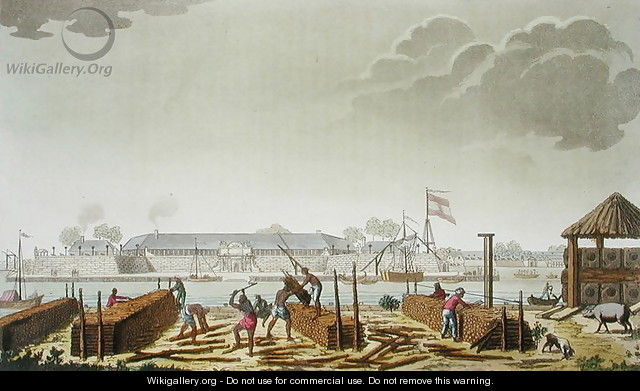 The Fort at Batavia with Native Loggers, plate 50 from