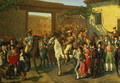 Horses in a Courtyard by the Bullring before the Bullfight, Madrid, 1853 - Manuel Castellano