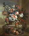 Still life of a basket of flowers and fruit - Pauwel Casteels
