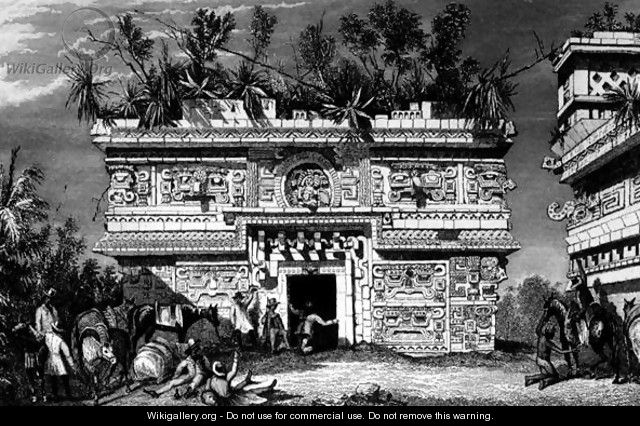 Annex on the east side of the nunnery, Chichen Itza, Yucatan, Mexico - Frederick Catherwood