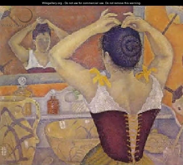 Woman at her toilette wearing a purple corset, 1893 - Paul Signac