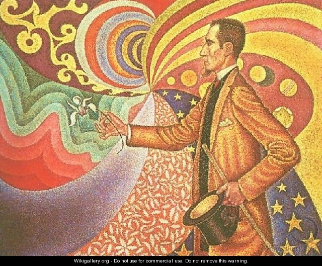 Against the Enamel of Background Rhythmic with Beats and Angels, Tones and Tones and Colours, and a Portrait of Felix Feneon (1861-1944) 1890 - Paul Signac