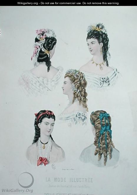 Hairstyles with ribbons, illustration from