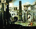 Town Scene in Italy with Ancient Ruins - Viviano Codazzi