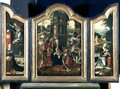 Triptych: The Adoration of the Magi (central panel), The Annunciation (LH panel),The Rest on the Flight into Egypt (RH panel) - Pieter Coecke Van Aelst