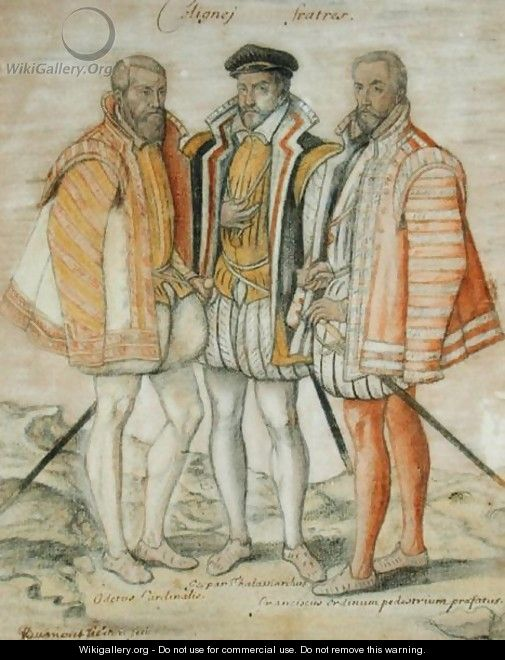 The Three Coligny Brothers: Odet (1517-71) Cardinal of Chatillon, Gaspard II (1519-72) Leader of French Protestants and Admiral of France, and Francois, Lord of Andelot, who won fame at the Battles of Dreux and Jarnac - (studio of) Clouet