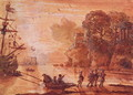 The Disembarkation of Warriors in a Port, possibly Aeneas in Latium, 1660-65 - Claude Lorrain (Gellee)