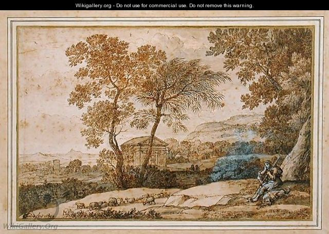 Landscape with a shepherd and his dog - Claude Lorrain (Gellee)