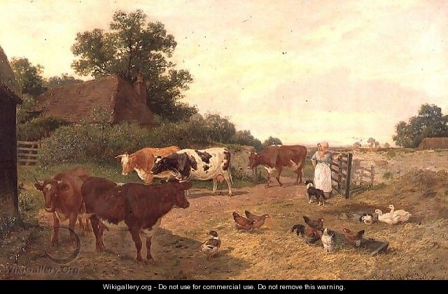 A Kentish Farm Scene, Milking-Time - Claude Clark