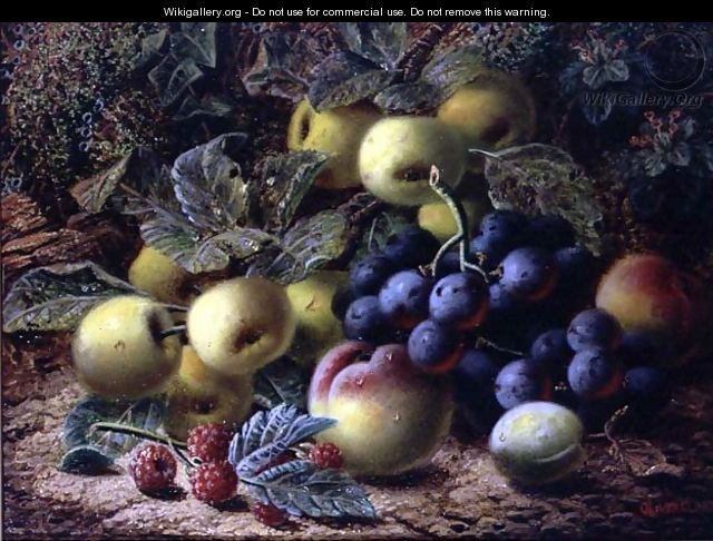 Still Life with Apples, Plums, Grapes and Raspberries - Oliver Clare
