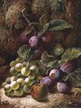 Still Life with Plums and Grapes - Oliver Clare