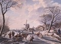 Dutch winter garden scene of windmill and skaters - W.F. Christ