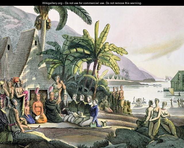 Meeting between the Expedition Party of Otto von Kotzebue (1788-1846) and King Kamehameha I (1740-52-1819) Ovayhi Island - (After) Choris, Ludwig (Louis)