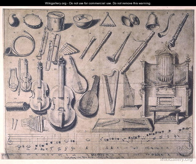 Various musical instruments: the percussion, the stringed