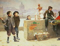 Young Pedlars on the Pont Des Arts, Paris - Paul Charles Chocarne-Moreau