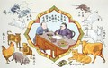 Fortune telling scene and signs of the Chinese zodiac, reproduced in
