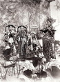 Portrait of Tz'U-Hsi (1835-1908) Empress Dowager of China accompanied by two maids of honour and a guard - Anonymous Artist