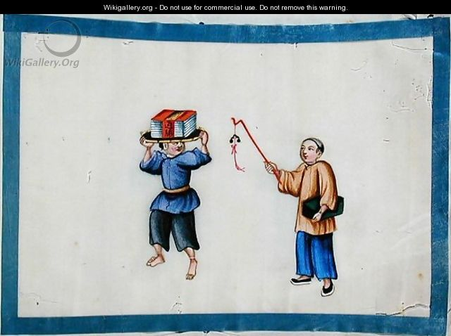 Man carrying books on his head, 1850s - Anonymous Artist