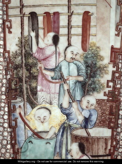 Detail from a vase depicting men dyeing silk - Anonymous Artist
