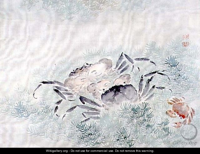 Crabs, from an album of twelve studies of flowers, birds and fish - Tsubaki Chinzan