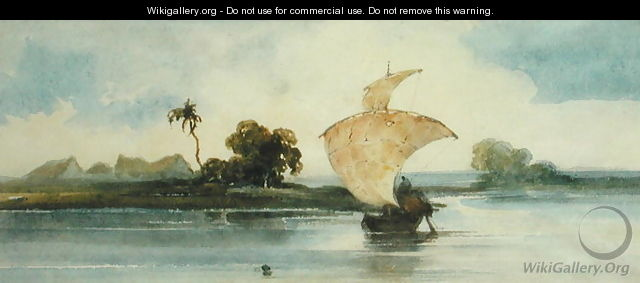 A Craft on an Indian River - (follower of) Chinnery, George (1774-1852)