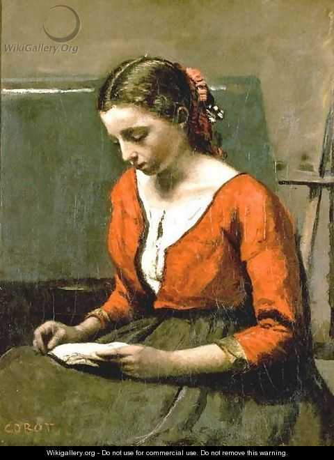A Girl Reading - Jean-Baptiste-Camille Corot