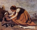 Mother and Child on the Beach - Jean-Baptiste-Camille Corot