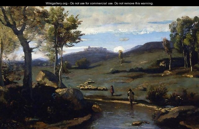 Roman Countryside - Rocky Valley with a Herd of Pigs - Jean-Baptiste-Camille Corot