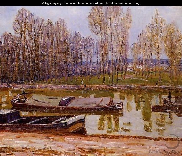 Barges on the Loing Canal, Spring - Alfred Sisley
