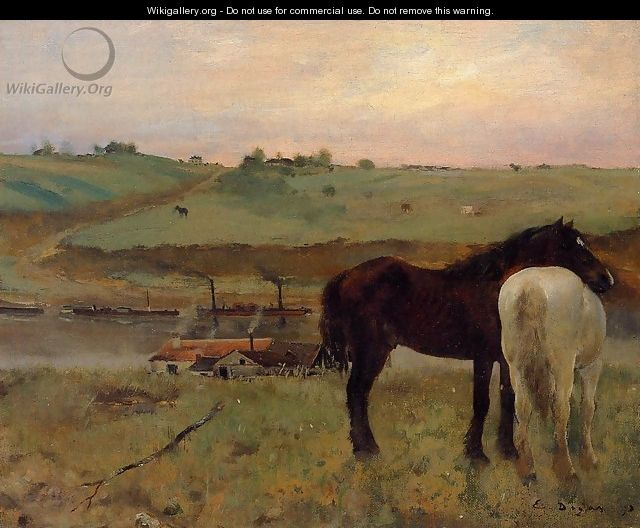 Horses in a Meadow - Edgar Degas