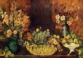 Vase, Basket of Flowers and Fruit - Pierre Auguste Renoir