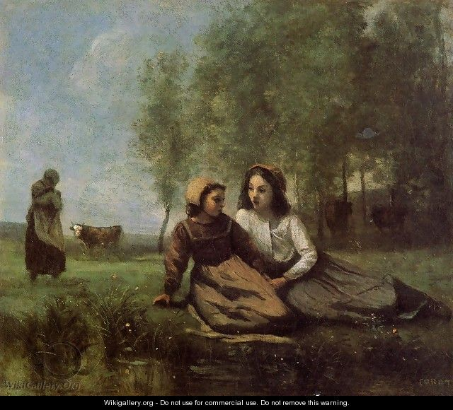 Two Cowherds in a Meadow by the Water - Jean-Baptiste-Camille Corot