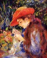 Mademoiselle Marie-Therese Durand-Ruel Sewing - Pierre Auguste Renoir