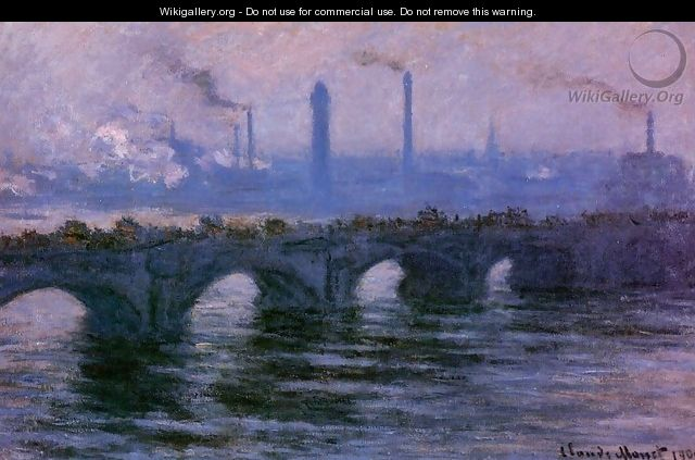 Waterloo Bridge, Overcast Weather - Claude Oscar Monet