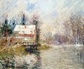 House by the Water, Snow Effect - Gustave Loiseau