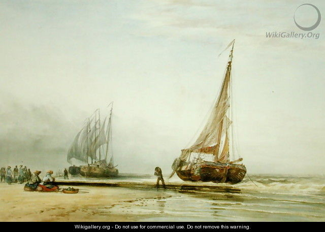 Dutch Fishing Boats on the Beach with Groups of Fisherfolk, 1856 - Edward William Cooke
