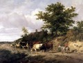 Wooded landscape with a boy on a donkey and cattle at a ford - Thomas Sidney Cooper