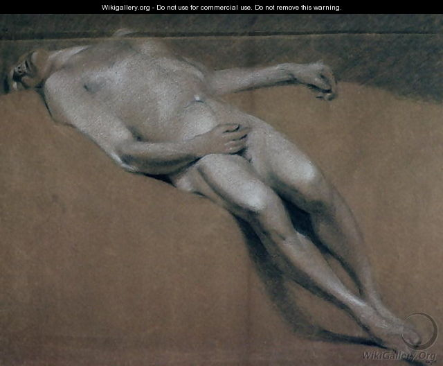 Study of a recumbent male nude - John Constable