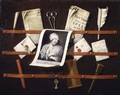 Trompe l'oeil letter rack with a print of a woman and a Parliamentary speech of 1704 - Edwart Collier