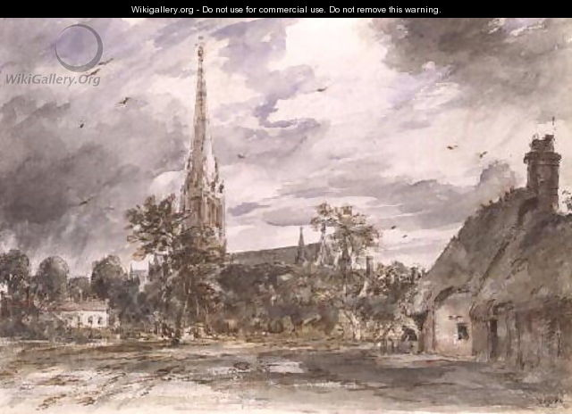 Salisbury Cathedral: with cottages - John Constable