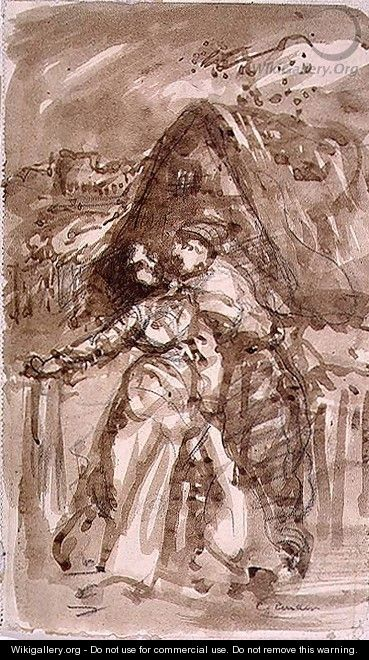 Sketch of a Man embracing a Woman at a Cottage Gate - William Collins