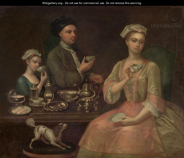 A Family of Three at Tea, c.1727 - Richard Collins